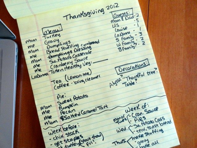 A half-hour spent gathering my thoughts about Thanksgiving saves time in the long run, a hallmark of lazy productivity.